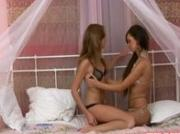 Amateur teen lesbians make-out in bra and panties