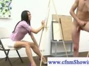 Stud poses nude for cfnm adult art class