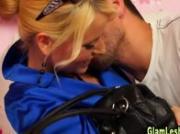 Glamorous satin babe pussy licking