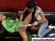 Glamouors lesbians use toy on their pussy through panties