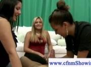 Cfnm girls learning how to blow and wank cock