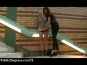 Bound babe caned and toyed in subway passage