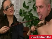 Strict mistress and slave in bondage