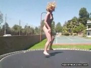 Naked blonde jump and squirt