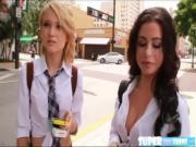 Pretty Dakota and Adriana skips school to fuck their friend in their dormitory
