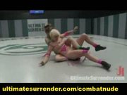 Smaller catfighter dominates and fucks biggest girl on the m