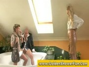 Fully clothed golden shower threesome