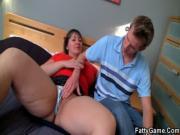 Horny big tits plumper rides cock