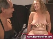 Master gives slavegirl in bondage electric shocks