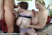 Two huge boob bbws get titty fucked by huge cock