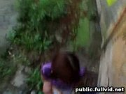Brunette in public