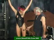 Shock master and a slavegirl in bondage