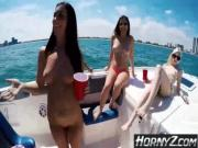 3 Hotties getting fucked on Boat - HornyZcom