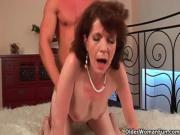 Mature mom Evelyn with her hairy crotch and armpits fucked deep