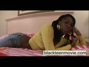 Cute ebony teen girl takes white dick in her
