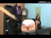 Brunette Girl Getting Her Ass Spanked With Paddle To Red By The Director To Avoid Police In The Offi