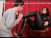 Worshipping mistress jemma?s feets in full leather