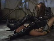 Asian femdom full leather pants and jacket trampling ball ki