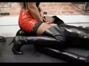 Cum on latex mistress