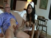 Busty indian nurse in latex getting drilled by an older gentleman