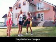 Three petite girls in lesbian peeing threesome