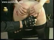Horny hot slave got clamps on her big tits and clamps on her