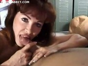 mature mom sucks cock down on her knees