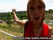 Redhead sucks in public