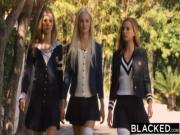 BLACKED Preppy Girl Threesome Get Three BBCs