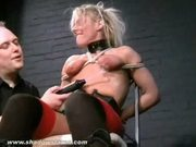 Extreme blonde bdsm slave crystel leis tounge tied torments