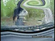 Handjob in car on a rainy day