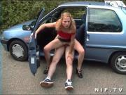 French blonde sodomized in the car in a public area