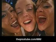 Three girls drinking a mix of cum and piss