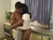 Mexican pornstar loves to get her pussy fucked in the kitche