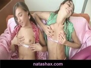 Natasha Shy and her petite teen girlfriend touching their small tits and nipples