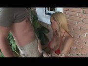 Tranny blonde licks balls!