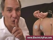 Blonde slavegirl sucks her masters cock after some electric shock treatment