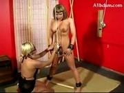 Girl Hanging Tied Legs Whipped Pussy Fucked Stimulated With Vibrators Paddled By Mistress
