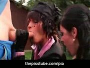 Two girls sucking a guy while fully clothed