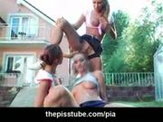 Piss drinking girls in lesbian outdoor peeing orgy