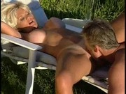 Lifeguard couple having fun in the garden!