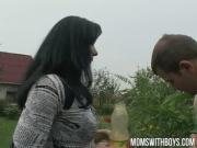 European mom makes her young gardener her sex boy toy