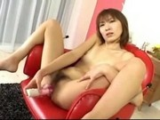 Asian Girl Having Orgasm While Fucking Herself With Toy In The Chair