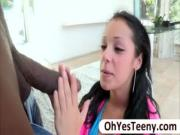 Petite teen Eve Evans gets banged hard by a massive black cock