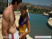 Hot cheerleader Presley Hart fuck outdoors