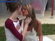Teen chicks strip outside