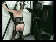 Beautiful slave got hit on her back and ass with a whip and
