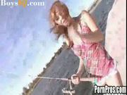 Young teenage dani fishes for cock