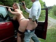 Blonde blows and gets fucked in the car