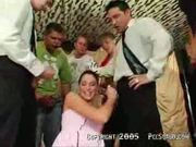Brunette first's gangbang